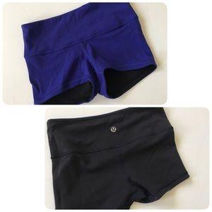 Lululemon black purple reversible boogie shorts 2